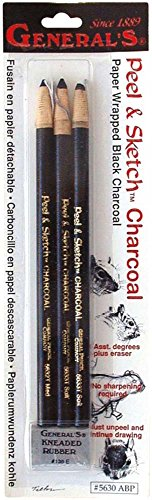 Peel & Sketch Charcoal Pencils 3/Pkg- Medium Peel