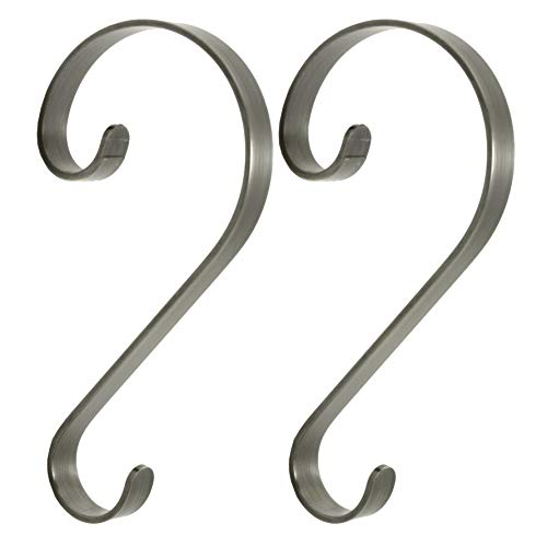 (2-Piece Pewter Scroll Stocking Hanger Set)