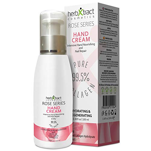 Hand Cream with Collagen, Essential Rose Oil, Keratin and Vitamin E - Anti-aging Lotion for Dry Aging Hands. For Silky Smooth Hands Skin Moisturizer by HerbXtract, 3.4 Fluid Ounces