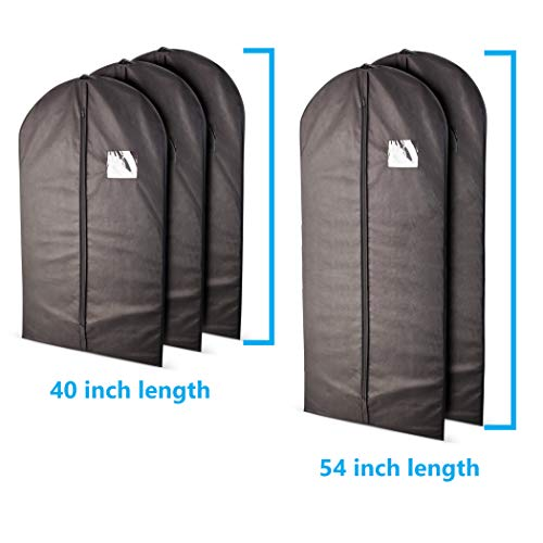 Plixio Garment Bags Suit Bag for Travel and Clothing Storage of Dresses, Dress Shirts, Coats- Includes Zipper and Transparent Window (Black- 5 Pack: Mixed Sizes)