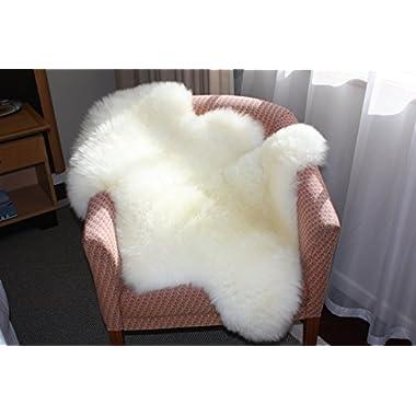 A-STAR (TM) Ivory White Real Sheepskin Rug Single Pelt - 2ft x 3ft SheepSkin
