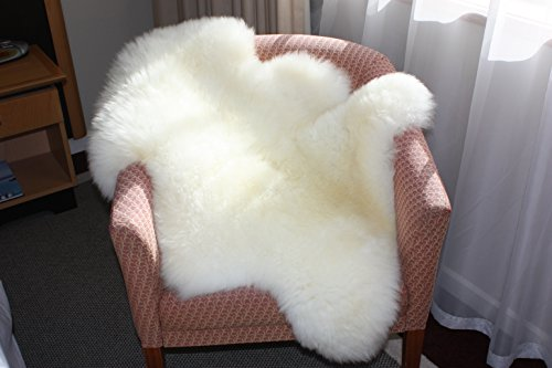 A-STAR (TM) Ivory White Real Sheepskin Rug Single Pelt - 2ft x 3ft SheepSkin