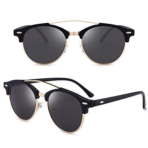 Polarized Sunglasses Men's European and American Fashion Glasses Retro Round Frame Driving Sunglasses (2 Pack) (Cat Eye Wayfarer Sonnenbrille)