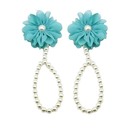 Koly 1 Par Chiffon Infantil Flor pies sandalias de playa (Rosado) Azul
