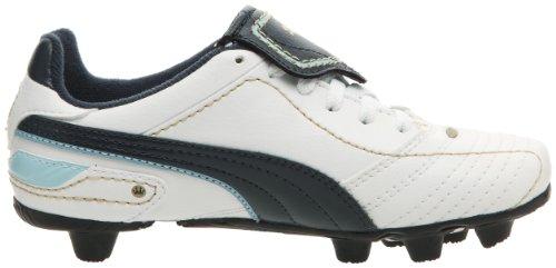 Puma - Botas de tacos moldeados para fútbol infantiles, Jr Esito Diego HG Blanco - Blanc/Midnight Navy/Crystal Blue/Team Or