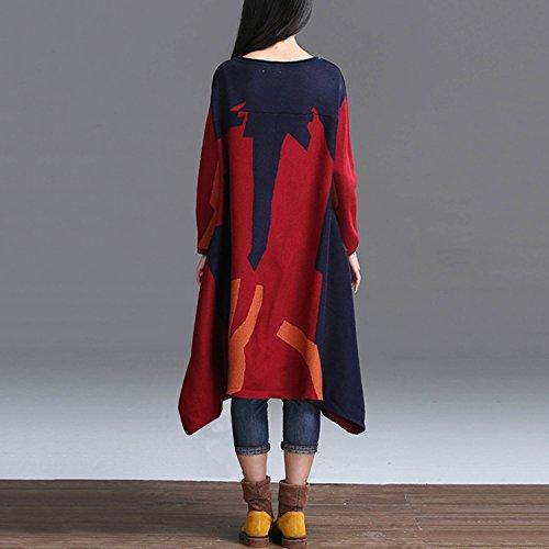 CLOCOLOR Robe d'hiver longue et erratique ,rouge