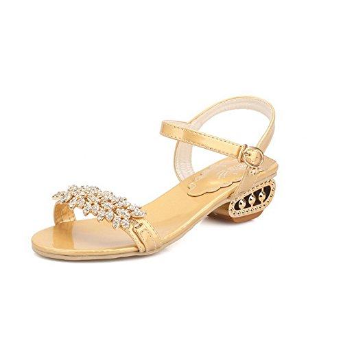 Allhqfashion Donna Open Toe Tacco Basso Materiale Morbido Sandali Con Fibbia In Oro