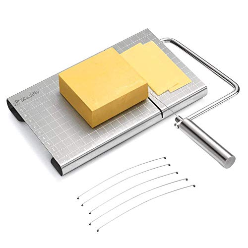 (MECKILY Cheese Slicer, Wires Stainless Steel Food Slicer Cheese Cutter Butter Cutter with Accurate Size Scale, Four Replaceable Serving Wires for Hard)