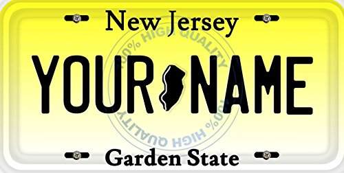 BleuReign(TM) Personalized Custom Name New Jersey State Car Vehicle License Plate Auto Tag (ALL STATES AVAILABLE) New Jersey State Auto