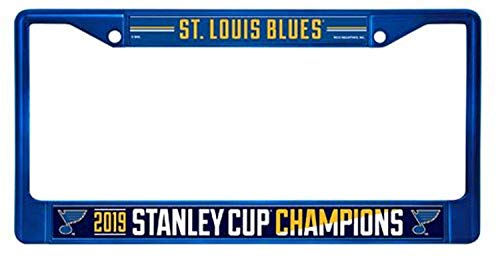 Aiden Eletina Inc. St Louis Blues 2019 Stanley Cup Champions Blue Metal Chrome Frame License Plate Tag Cover Hockey
