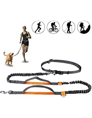 """Powey Hands Free Retractable Dog Leash 5ft-8ft with Dual Bungees for Puppy, Small & Medium Dogs 110Ibs, Adjustable Waist Belt 27""""-47"""", Reflective Stitching Leash for Running Walking Hiking"""