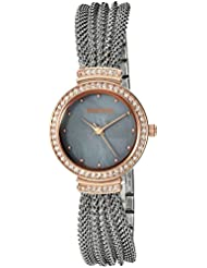 Armitron Womens 75/5526GMTR Swarovski Crystal Accented Rose Gold-Tone and Silver-Tone Mesh Bracelet Watch