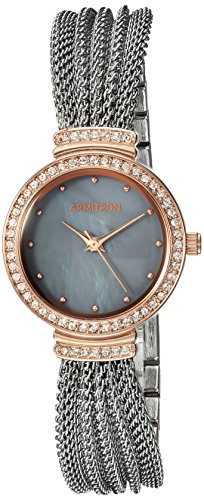 Armitron Women's 75/5526GMTR Swarovski Crystal Accented Rose Gold-Tone and Silver-Tone Mesh Bracelet Watch