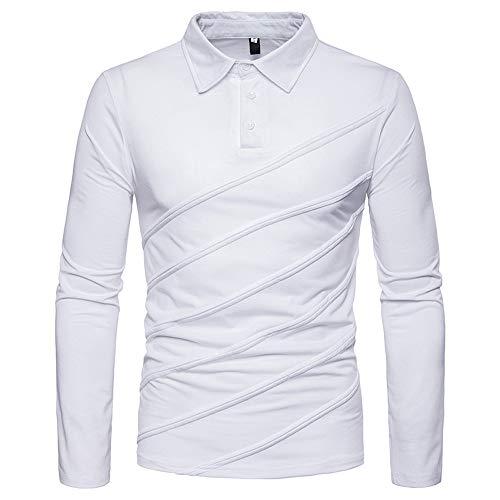 iLXHD 2018 Men Multi-Type Turn Down Collar Sweartshirt Long Sleeve Polo Shirt (White,US L/CN XL) - Prince Tennis Costume