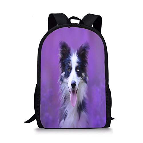 SDFPObackbagWT Border Collie Dog Portrait Animal Purple Cute Print School Backpack For Boys Girls School Book Bags