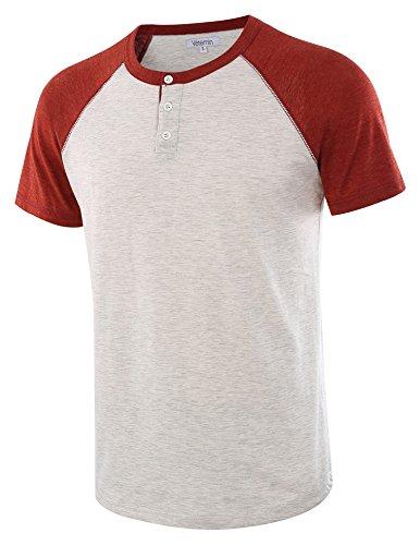 - Vetemin Men's Casual Short Sleeve Raglan Henley T-Shirts Baseball Shirts Tee H.Oatmeal/Rusty S