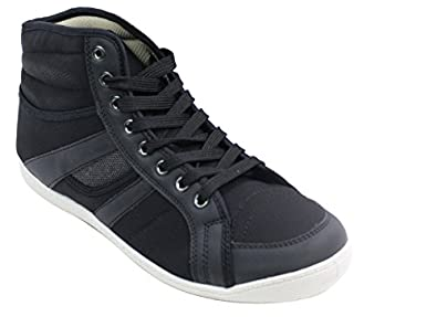 Mens Hi Top Canvas Ankle Trainers Retro Black Brown Grey Casual