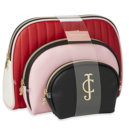 Juicy Couture Cosmetic Makeup Bags: Compact Travel Toiletry Bag Set in Small, Medium and Large for Women and Girls - Red, Pink & Black