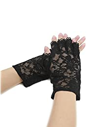 uxcell® Women Wrist Length Half Finger Floral Lace Gloves Pair Black