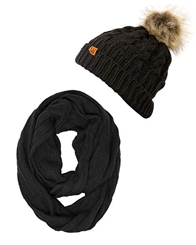 - Wrapables Winter Warm Cable Knit Infinity Scarf and Faux Fur Pom Pom Beanie Set, Black