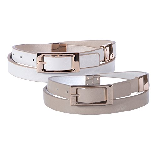 Sunny Belt Women's Reversible Thin Fashion Belt With Gold Metal Buckle (Grey/Taupe, XL)