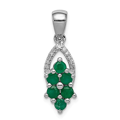 925 Sterling Silver Diamond Green Emerald Pendant Charm Necklace Gemstone Fine Jewelry Gifts For Women For Her