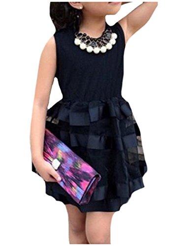 Price comparison product image Honey GD Big Little Girl Summer Black Tulle Princess Party Sundress Black 120