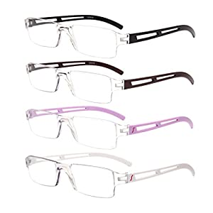 Liansan Designer 4 Pairs Rimless Reading Glasses Comfort Prescription Eyeglasses L2220S(+1.50)