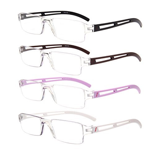 Liansan Designer 4 Pairs Rimless Reading Glasses Comfort Prescription Eyeglasses - Low Bridge Eyeglasses