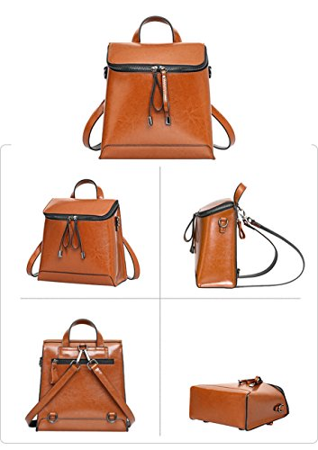 Ghlee - Bolso mochila  de Piel Lisa para mujer negro