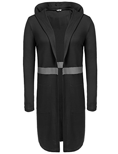 Zeagoo Womens Casual Open Front Long Sleeve Drape Cardigan With Pockets Black - On What's Street High The Not
