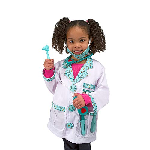 Melissa & Doug Doctor Role-Play Costume Set (Pretend Play, Materials, Machine Washable, 17.5 H × 24 W × 0.75 L inches, Great Gift for Girls and Boys - Best for 3, 4, 5, and 6 Year Olds)