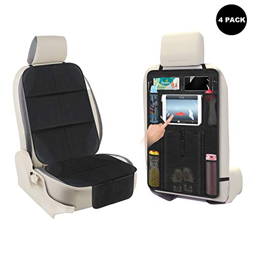 Review Of AOAFUN 2 Set Car Seat Protector&Kick Mat Auto Seat Back Protector,Extra Large Storage Pock...