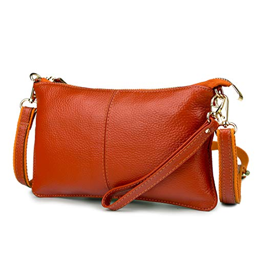bcd5e644df Mynos Genuine Leather Zipper Vintage Small Women Crossbody Purse Bag(Orange)