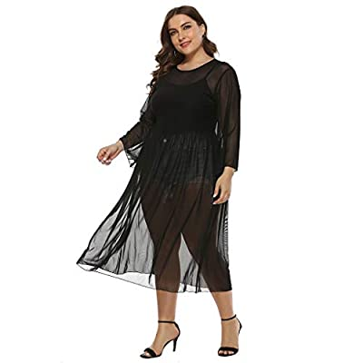 Sttech1 Plus Size Long Dress for Womens, Horn Sleeve Round Neck Solid Loose Casual Mesh Dress: Clothing