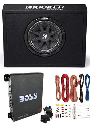 "Kicker New 10TC104 10"" 300W Subwoofer + Sub Box + Boss R1100M 1100W Amp +Amp Kit"