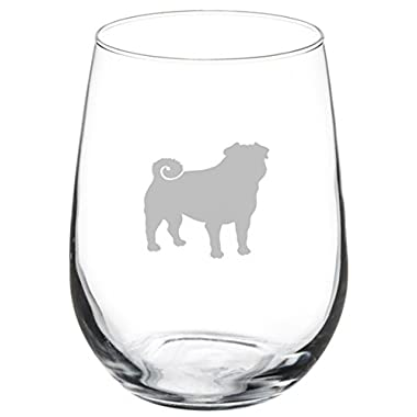 17 oz Stemless Wine Glass Pug Dog