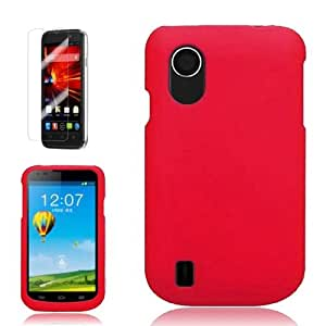 [ARENA] RED SOLID RUBBERIZED COVER SNAP ON HARD CASE for ZTE CONCORD 2 + FREE SCREEN PROTECTOR