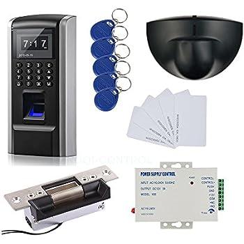 Bio Fingerprint & RFID Sistema de Control de Acceso Kit & Exit Sensor de Movimiento y Bloqueo Eléctrico Lock + 110-240V Fuente de alimentación + RFID ...
