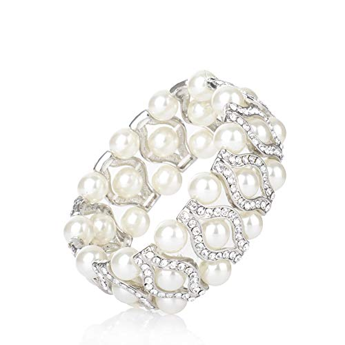 Vintage Mother Bracelet Of Pearl (MU&ZI Pearl Bracelet,Vintage Style for Bridal Wedding, 3-Rows Simulated Pearl and Rhinestone, Elastic Stretch Crystal Bangle)