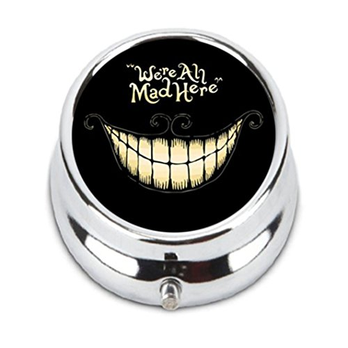 Cheshire Cat Unique Customization stainless steel Round Pill Case Box Holder,Durable Fashion Storage box, wallet By Chun Qige