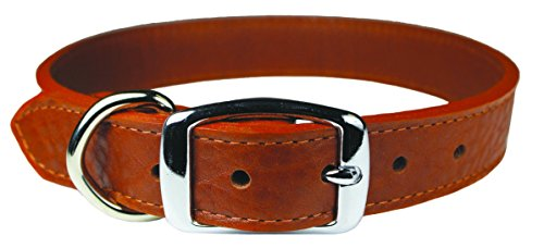 OmniPet 6266-TB14 Luxe Leather Dog Collar, Tobacco
