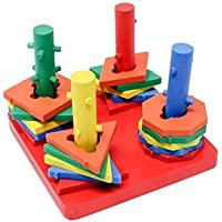 Tootpado 1TNG236 Wooden Geometric Shape Sorter Puzzle - Triangle Square Rhombus Octagon Stacker Toys