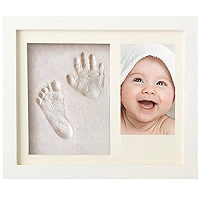 Newborn Baby Handprint and Footprint Picture Frame Kit for Boys and Girls, Baby Shower Gift for Registry, Memorable Keepsakes Decorations for Room Wall or Table Decor, Wood Frames with Premium Clay