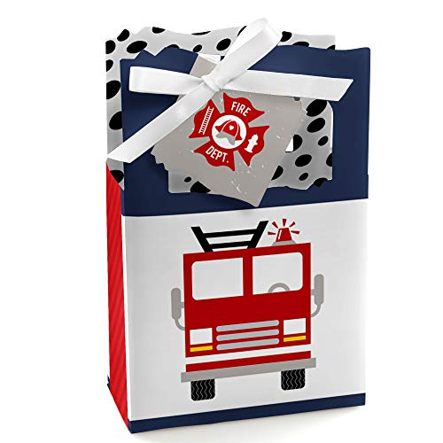 Fired Up Fire Truck - Firefighter Firetruck Baby Shower or Birthday Party Favor Boxes - Set of 12]()