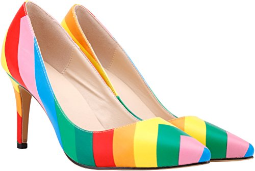 Salabobo Womens Rainbow Fashion Closed Toe Kitten PU Pumps Rainbow UHh4ttZIs