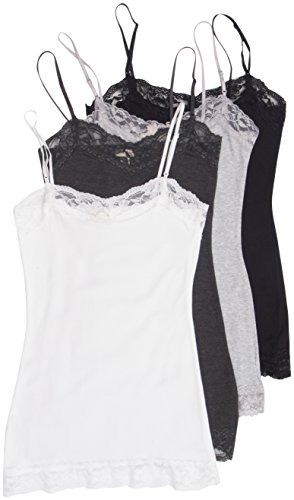 4 Pack Zenana Women's Lace Trim Tank Tops Large White, Charcoal, Black, H Gray (Camis Girls Trim Lace)