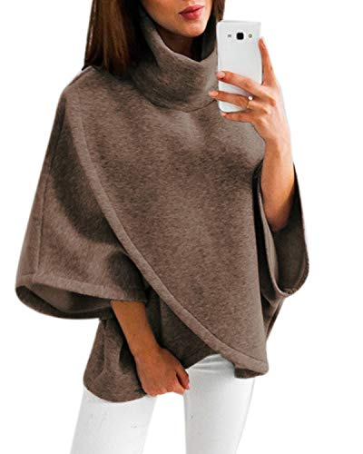 YOINS Women Cardigan Capes Turtleneck Poncho Collar Flared Long Sleeves Sweater Brown XXL
