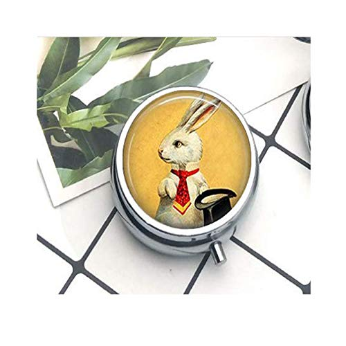 White Rabbit Necklace Magician's Jewelry Bunny with Top Hat Magic Trick Art Pendant The Pill Box/Pill case Literary Jewelry -
