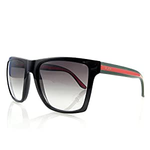 New Gucci mens Sunglasses Black/ Green Red 55 mm